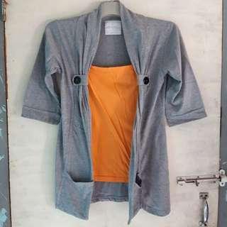 #maudompet atasan + outer wanita abu orange