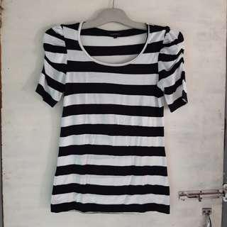 #maudompet the executive kaos stripe hitam putih