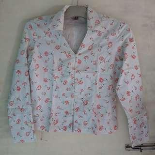 kemeja vintage pink putih