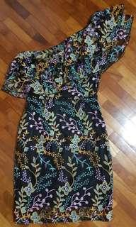 One shoulder toga floral applique embroidered bodycon mini dress