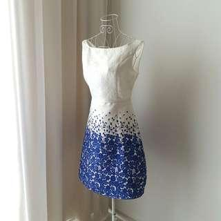 Blue & White Embossed Floral Dress