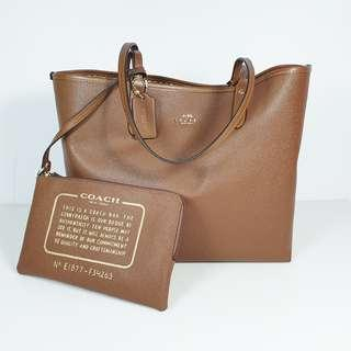 Clearance Sale! Coach - Legacy Print Reversible Tote with pouch