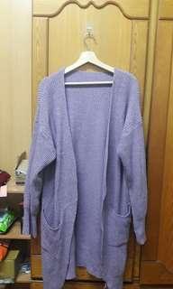 🚚 二手紫色針織外套 大尺碼可穿