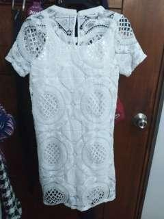 F21 white crochet dress