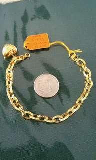 Real 916 yellow gold big link with one fat love pandent bracelate