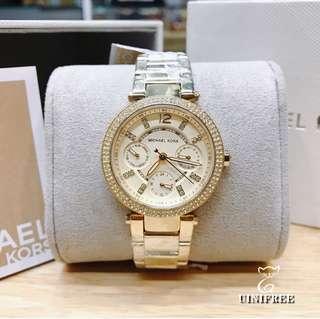 🚚 MK6056 MICHAEL KORS 金色 晶鑽 三眼計時 時尚 石英 女 手錶 33mm