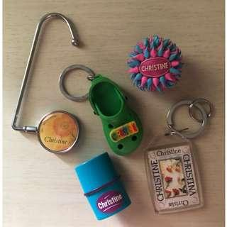 Key chain, bag holder, stempel nama 'Christine' take all