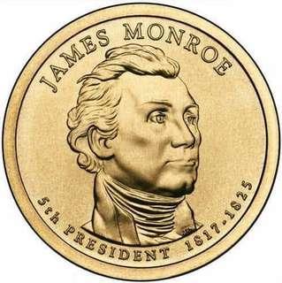 2008 US Presidential $1 Coins (4 pcs) Monroe, J.Q.Adam, Andrew Jackson, Martin V.Buren