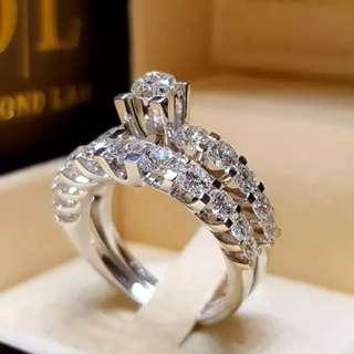 Women Silver White Sapphire Ring Fashion Wedding Engagement Bridal Jewelry