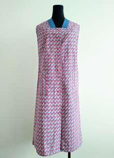 Vintage geometric pattern cotton shift dress sz 14