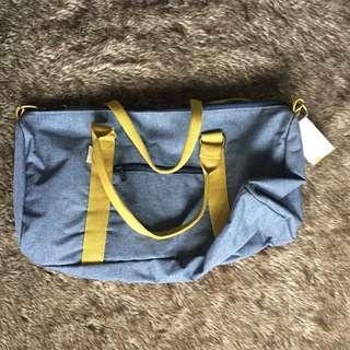 Meridian Lee Overnight Duffle Bag Chambray Canvas (Light Grey/Lemon)