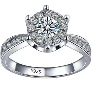 Hequ Exquisite Silver Ring Jewelry Romantic Wedding Rings for Women Fashion Zirconium Accessories Silver-9