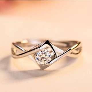 Hequ Heart Angel Kiss Ring 925 Sterling Silver White Gold Plated Wedding Ring For Women Engagement Ring