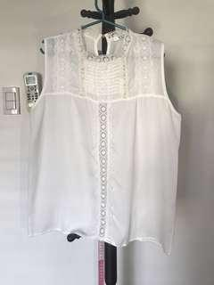 L&H White Laced Sleeveless Blouse