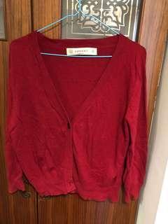 Zara紅色針織衫好搭顯白
