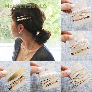1 Set Barrette Pearl and Metal Hair Clips