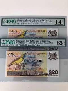 $20 Bird Series PMG 65EPQ and 64EPQ Singapore Banknote