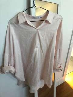 Linen Blend Long Line Top