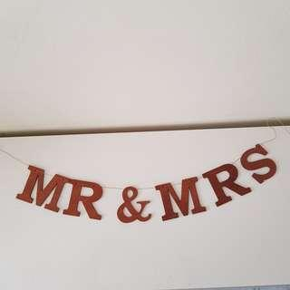 Bunting Wedding Day Soleminzation Set Up Mr and Mrs Wooden