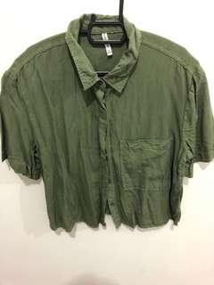 Bershka Army Green Top