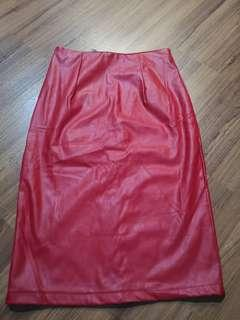 Red leather pu skirt brand new Size s/m