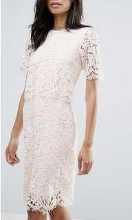 Lace midi dress pink scallop size 8