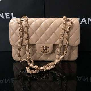 Brand new Chanel light beige small classic flap bag with gold hardware 23cm