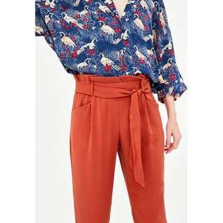 Flared Burnt Orange Paper Bag Trousers Zara