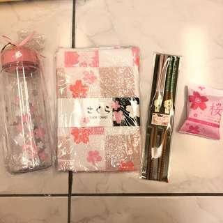 🚚 ⚡️全新現貨⚡️夢幻櫻花季商品組 水瓶 筷子 毛巾 肥皂🌸