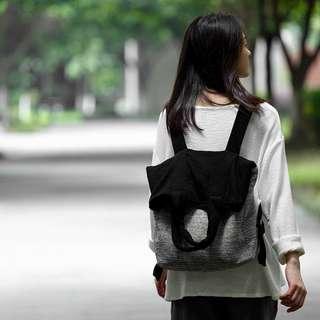 [ U'NIDO ]原創手作 城市旅途厚實黑灰撞色兩用包/ 後背包+托特包/ 背帶長可調整/ 上班上課日常包/ 暖心禮物
