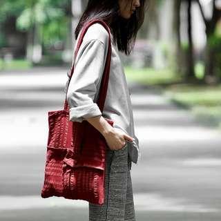 [ U'NIDO ]原創手作 城市旅途摺紙拼接托特包-紅色條紋/ 簡約巧思設計/ 氣質文青/ 上班上課日常包/ 暖心禮物