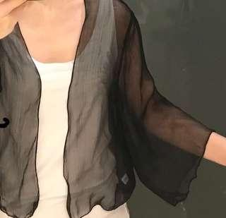 Sheer outerwear over any top.