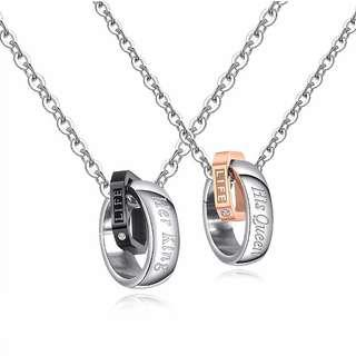🚚 [COUPLE]👫HER KING & HIS QUEEN COUPLE RING NECKLACE CUBIC ZIRCONIA COUPLE ANNIVERSARY GIFT | WEDDING JEWELRY👫