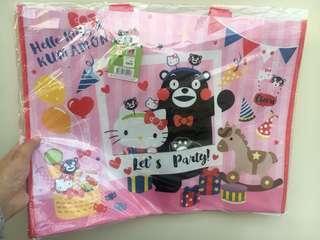 一田熊本熊 hello kitty 大型粉紅色環保袋