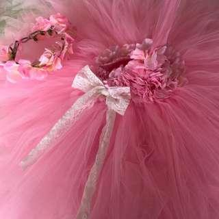 Baby tutu gown with headpiece