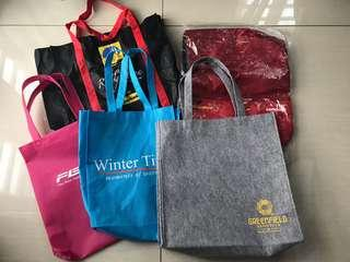 Bundle of Recycle Shopping Totes & Drawstring Backpack