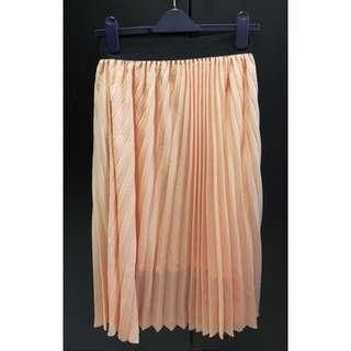 Nude Pleated Midi Skirt