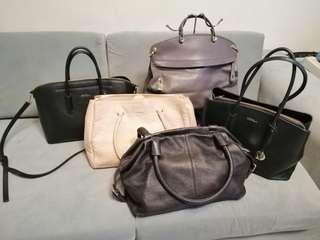 Furla Black Onyx Genuine Leather Black Bag 2 Way