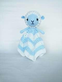 Handmade Crochet Sheep Baby Security Blanket