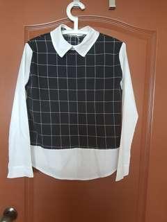 🚚 BNWT white long sleeve with black checks #dressforsuccess30