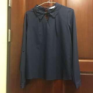 🚚 造型領厚雪紡全新襯衫 m號