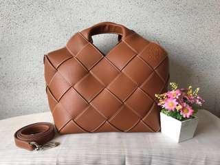 🚚 Leather Woven Basket Bag