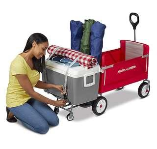 (PO) BN Radio Flyer 3-in-1 EZ Fold Tailgater Base Wagon with Cooler Caddy / Cargo Storage, Red