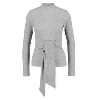 MISSGUIDED tie front grey ribbed top