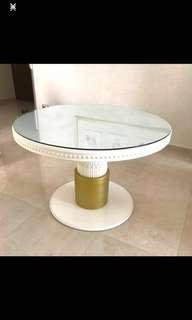 Victoria Gold and white table with glass TOP and chairs