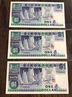 "Singapore ""Ship Series"" $1 Replacement Banknote 3 Runs"