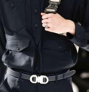 8fdc0382 DIOR X KAWS Black calfskin belt Kim Jones collection