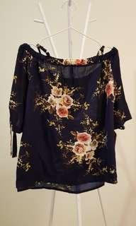 Plus Size Floral Print Off Shoulder Top