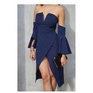 Navy blue bustier dress