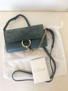 Chloe Faye Mini Leather and Suede Crossbody Wallet Bag